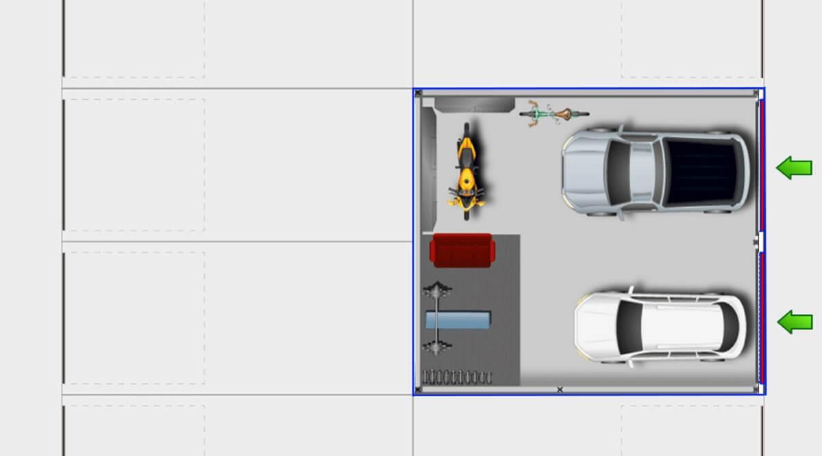 GuLP Typ B Doppelgarage breit - Lagerraum breit 52m² Nutzfläche
