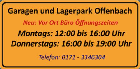 Garagen und Lagerpark Offenbach Büroöffnungszeiten vor Ort